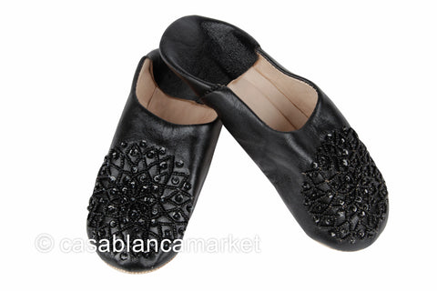 Leather Slippers, Black