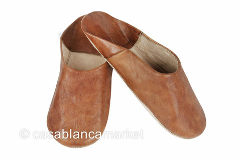 Leather Slippers Tobacco (Men)