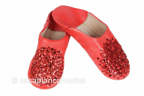Leather Slippers Red
