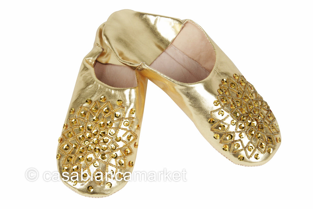 Leather Slippers, Gold