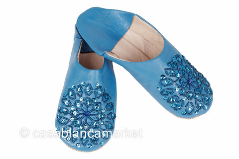 Leather Slippers, Azure