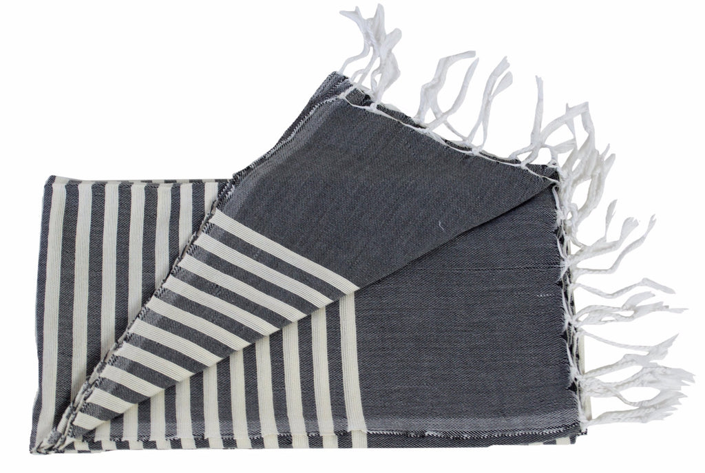 Moroccan Throw/Shawl, Charcoal and Off-White Stripes