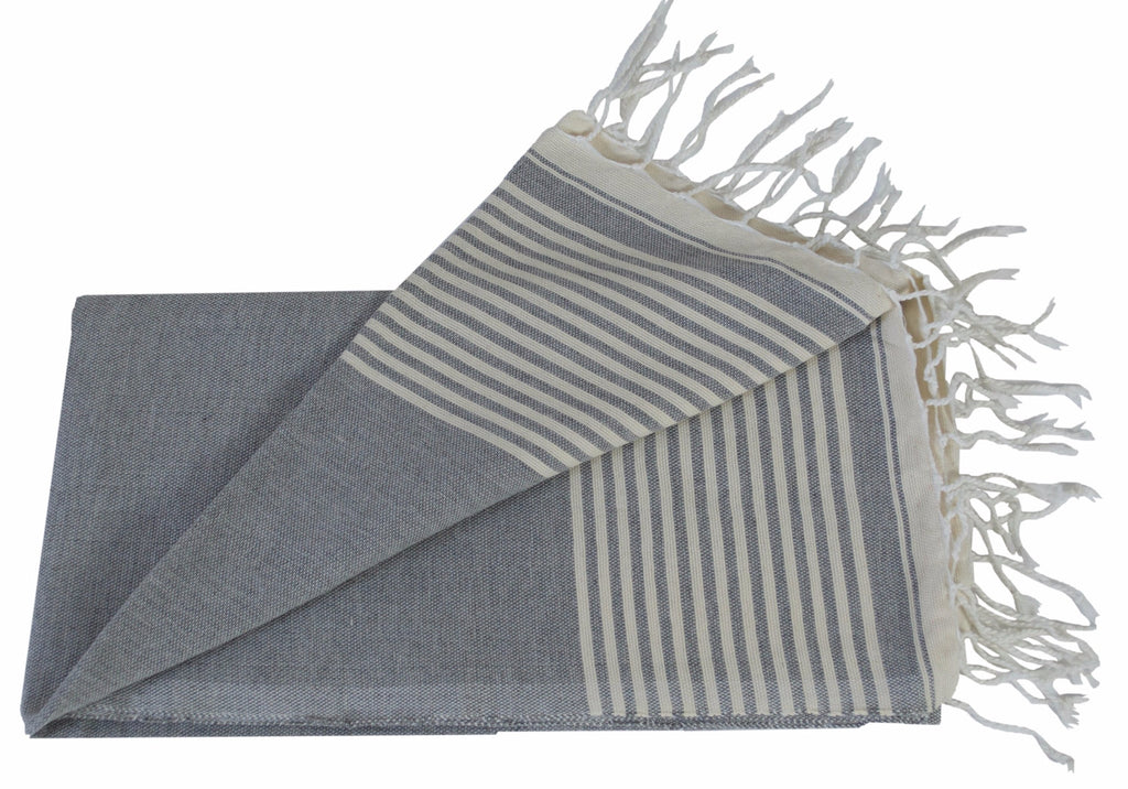 Moroccan Throw/Shawl, Grey with Off-White Stripes