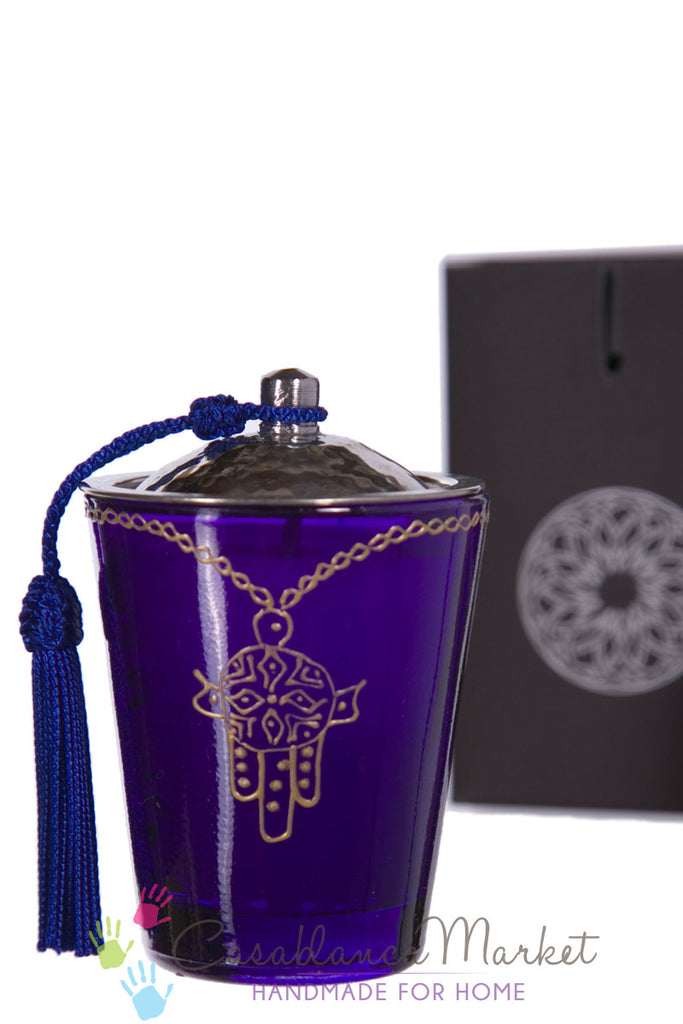 Moorish Khamsa Glass Candle, Purple