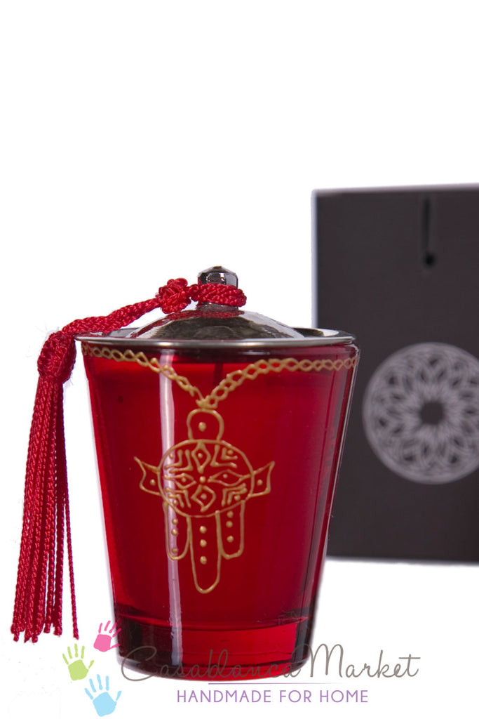 Moorish Khamsa Glass Candle, Red