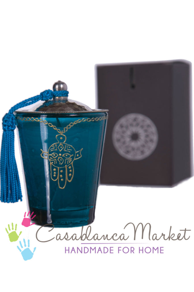Moorish Khamsa Glass Candle, Turquoise