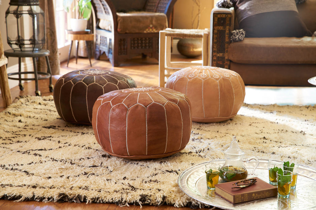 Embroidered Leather Pouf Desert Tan Casablanca Market New Embroidered Leather Pouf