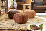 Embroidered Leather Pouf, Naturel