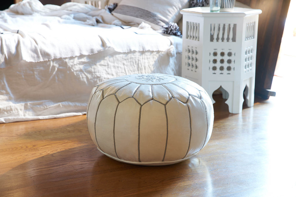 Embroidered Leather Pouf Gray On White Casablanca Market Awesome Embroidered Leather Pouf