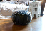 Embroidered Leather Pouf, White on Black