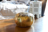 Embroidered Faux Metallic Leather Pouf, Gold