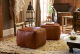 Moroccan Contemporary Leather Pouf, Naturel