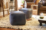 Moroccan Contemporary Leather Pouf, Slate Blue