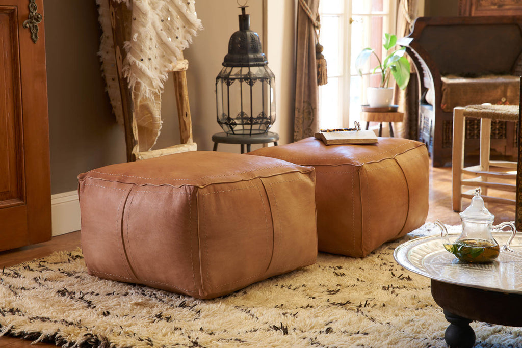 Groovy Moroccan Contemporary Leather Pouf Tan Casablanca Market Ncnpc Chair Design For Home Ncnpcorg
