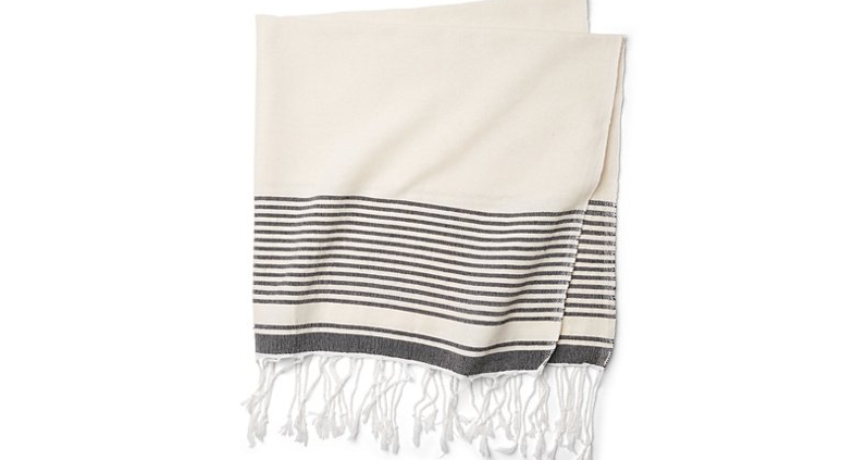 Moroccan Throw/Shawl, Off-White with Small Charcoal Stripes