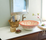 Classic Design Table Top/Undermount Sink, Orange and White