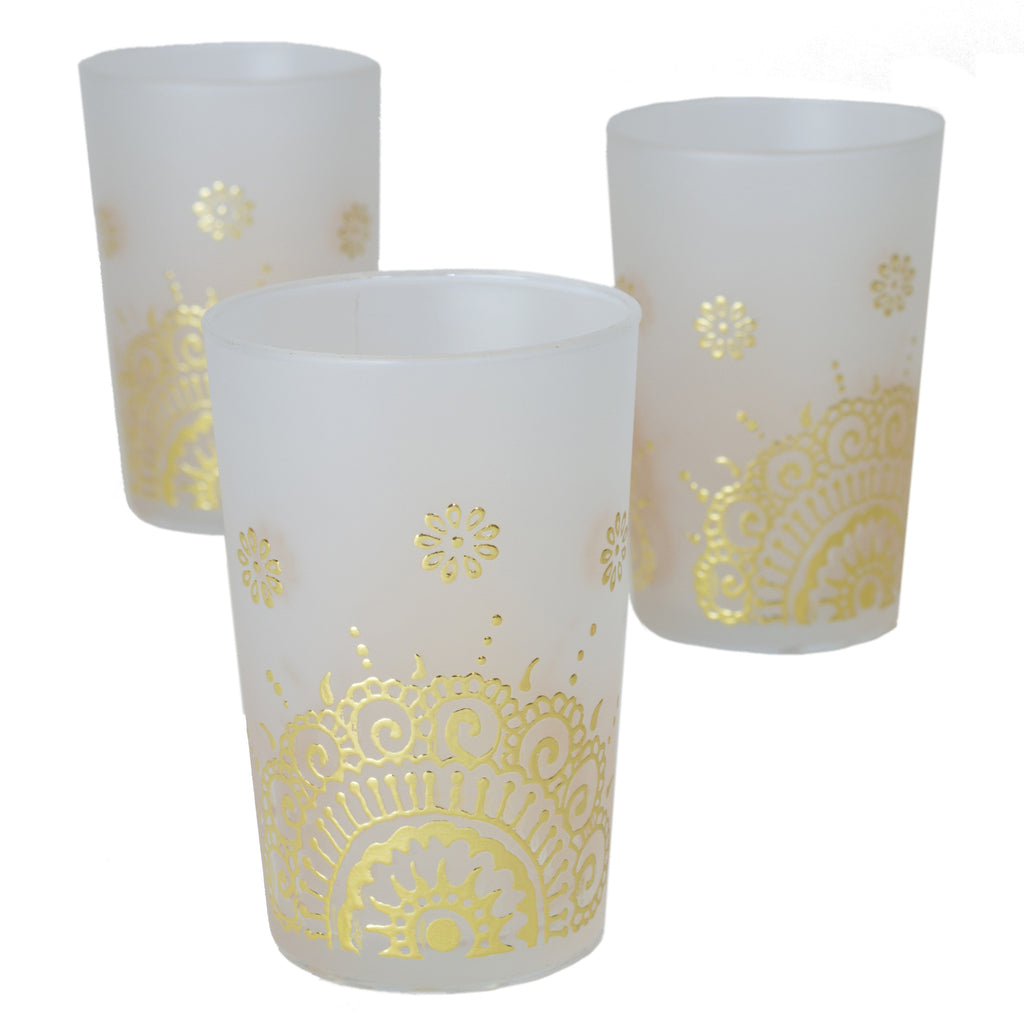 Luxury Ifrane Tea Glasses, Gold in Matte Beige (Set of 6)