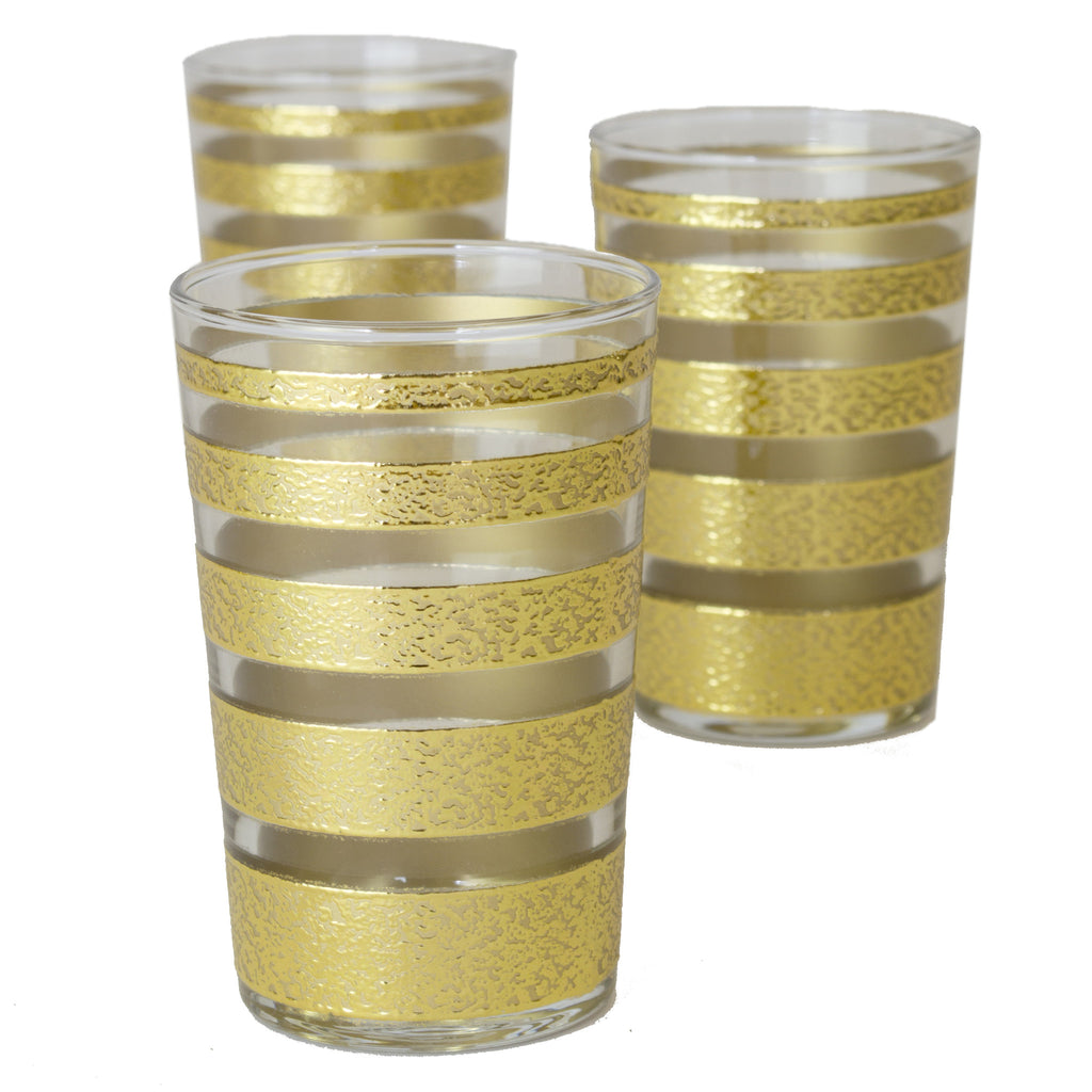 Luxury Ring Tea Glasses, Gold and Clear (Set of 6)