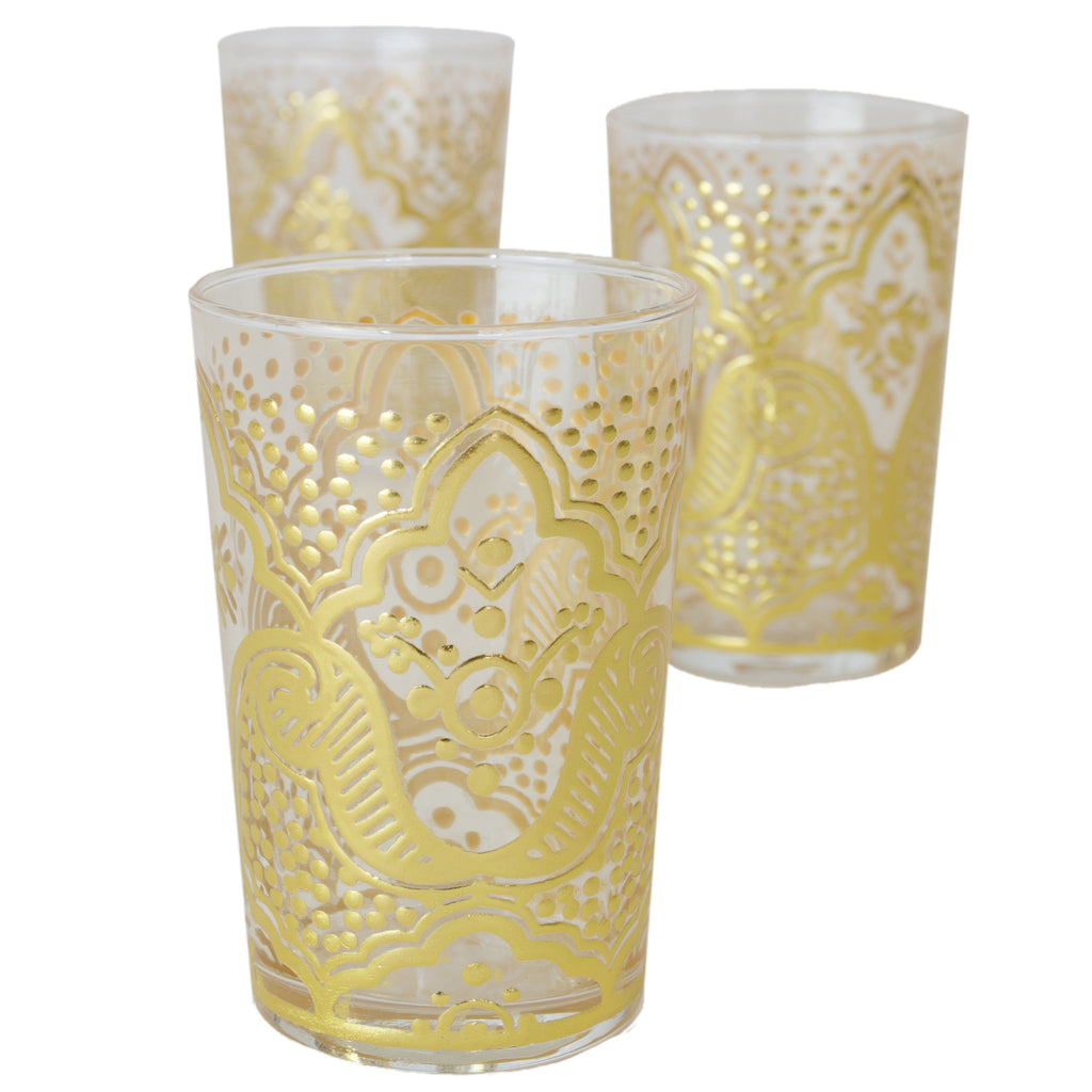 Luxury EI Kef Tea Glasses, Gold (Set of 6)