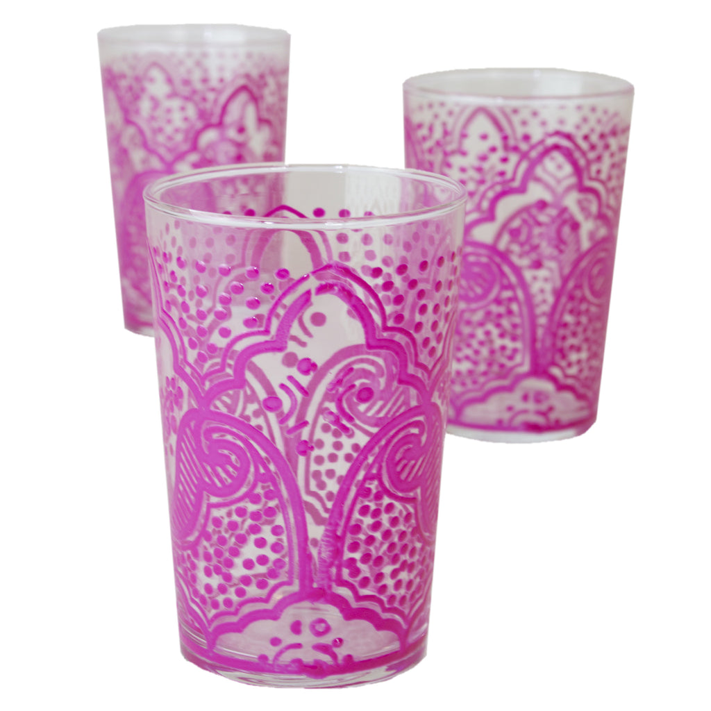 Luxury EI Kef Tea Glasses, Pink (Set of 6)
