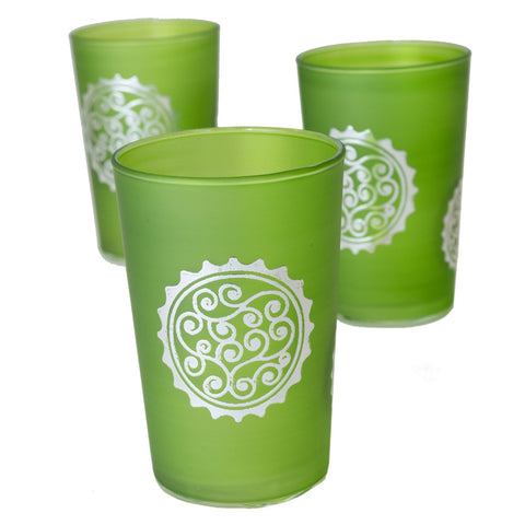 Luxury Massira Tea Glasses, Silver in Green (Set of 6)