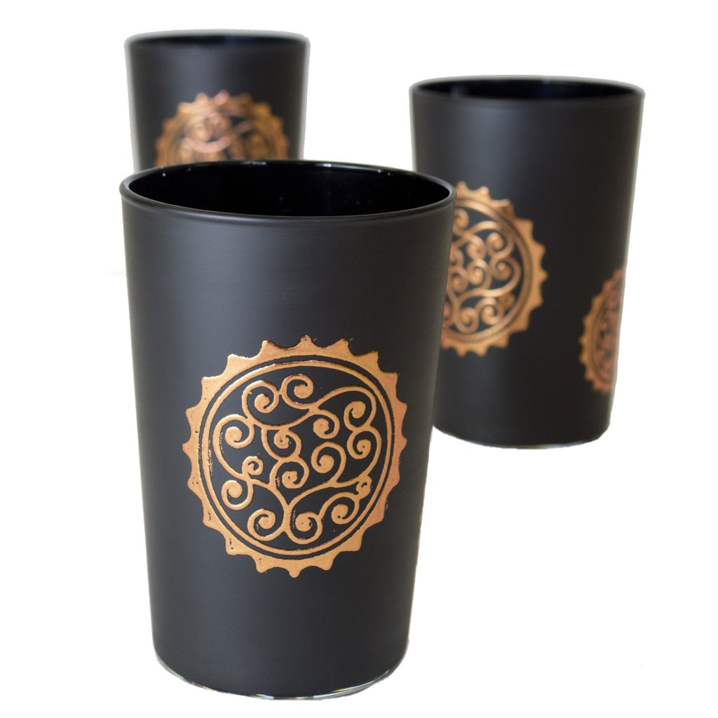 Luxury Massira Tea Glasses, Bronze in Black (Set of 6)