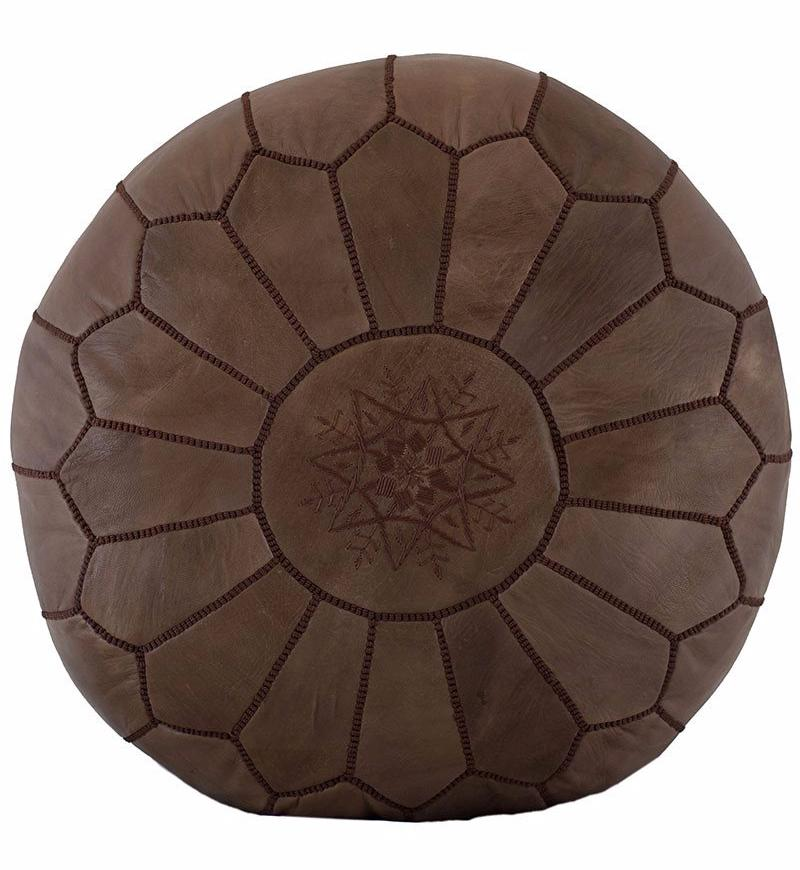 Embroidered Leather Pouf Brown On Brown Casablanca Market Beauteous Embroidered Leather Pouf