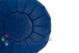 Embroidered Leather Pouf, Blue Majorelle
