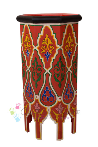 Dari Hand-painted Side Table, Red