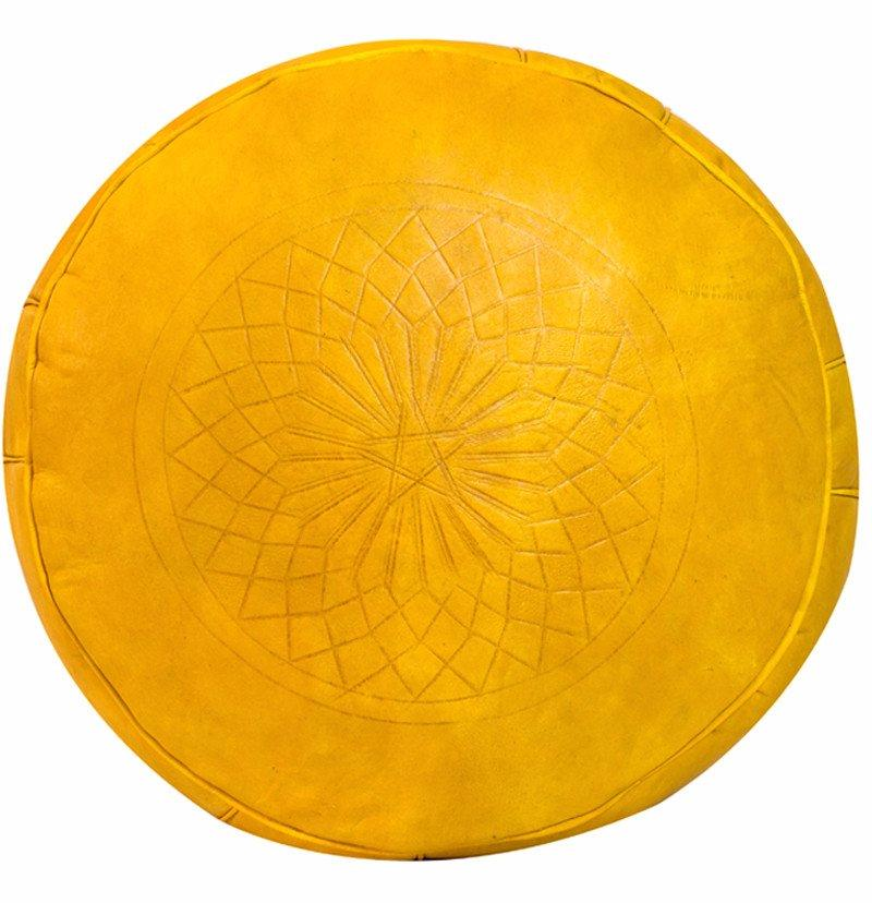 Solid Color Leather Pouf, Yellow