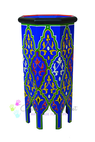 Dari Hand-painted Side Table, Blue