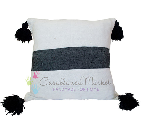 Moroccan Pom Pom Pillow Black on White