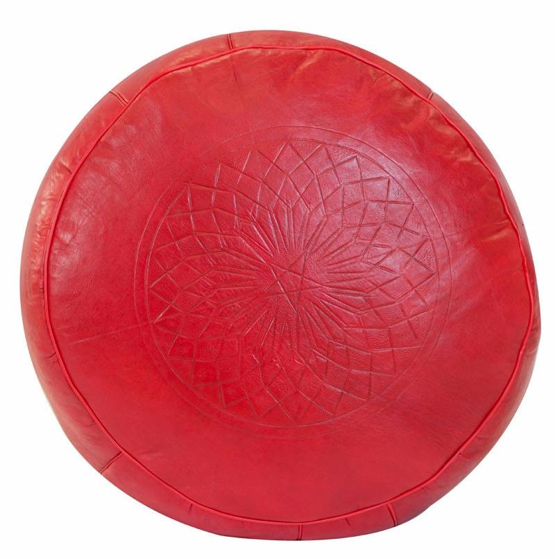 Solid Color Leather Pouf, Red