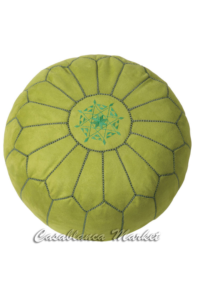 Suede Leather Pouf, Apple Green