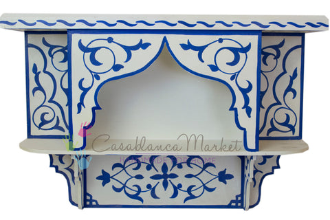 Bleu Majorelle on White Wall Shelf - Moroccan