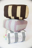 Moroccan Fabric Ottoman, Black and White Stripes