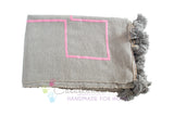 Moroccan Pom Pom Blanket, Pink on Gray