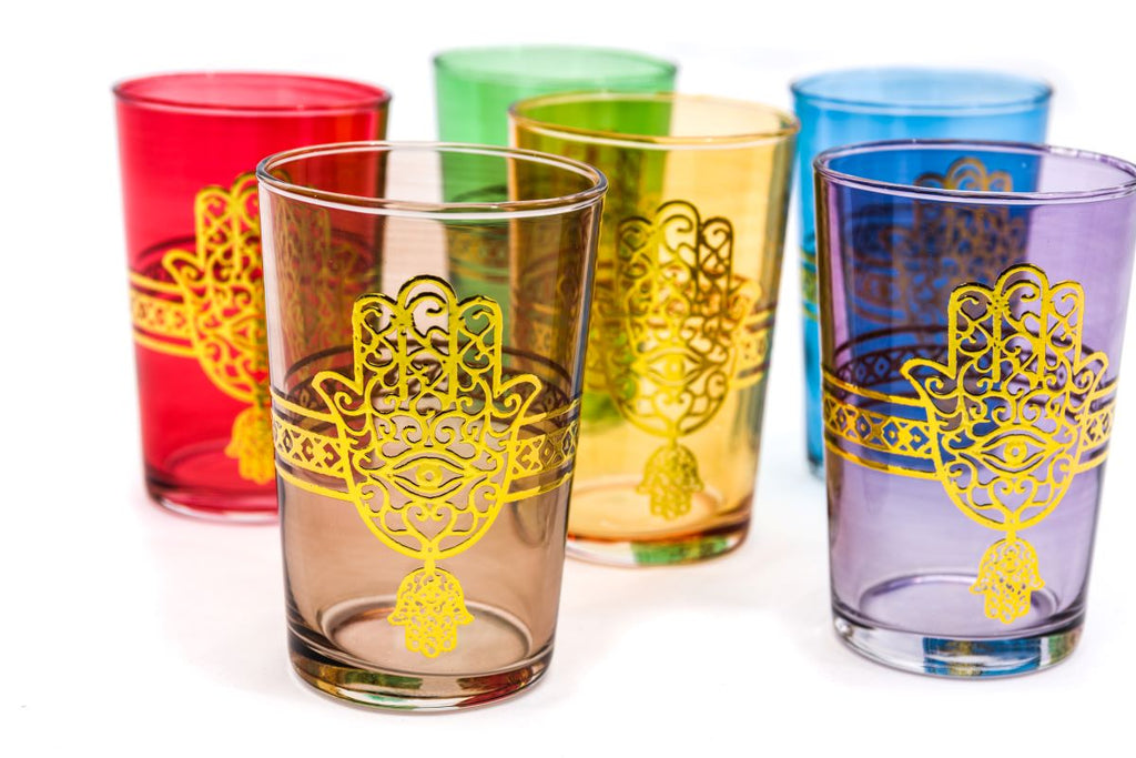 Kounouz Tea Glasses Mix, Gold (Set of 6)