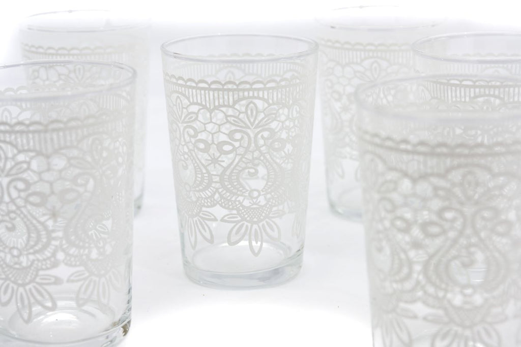 Tadla Tea Glasses, White (Set of 6)