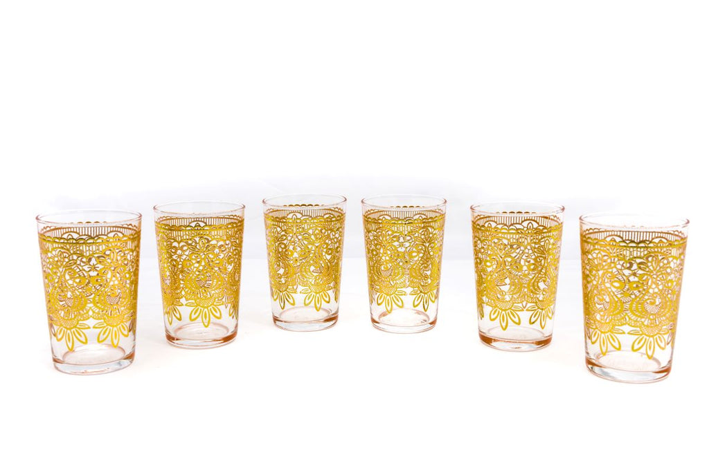 Tadla Tea Glasses, Gold (Set of 6)