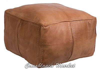 Moroccan Contemporary Leather Pouf, Tan