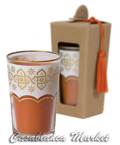 Moroccan Tea Glass Candles, Orange Blossom