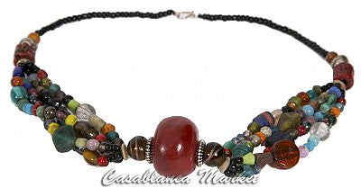 Red Moroccan Beaded Necklace MJ027