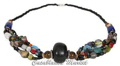 Black Accented Beaded Moroccan Necklace