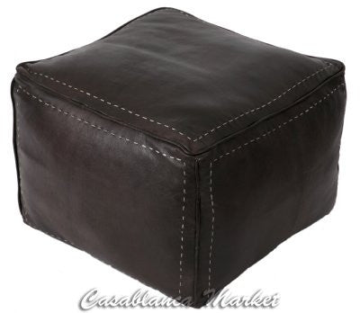 Square Leather Pouf with White Stitching, Dark Brown