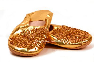 Gold Moroccan Leather Slippers