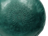 Solid Color Leather Pouf, Emerald Green