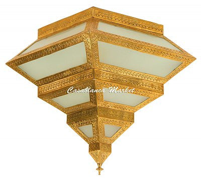 Fez Hanging Lantern, Sandy White and Brass