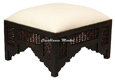 Moorish Large Ottoman, Seal Brown