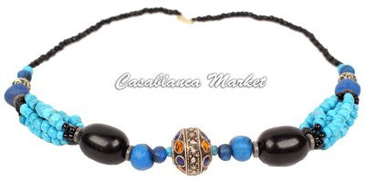 Blue Accented Beaded Necklace MJ030